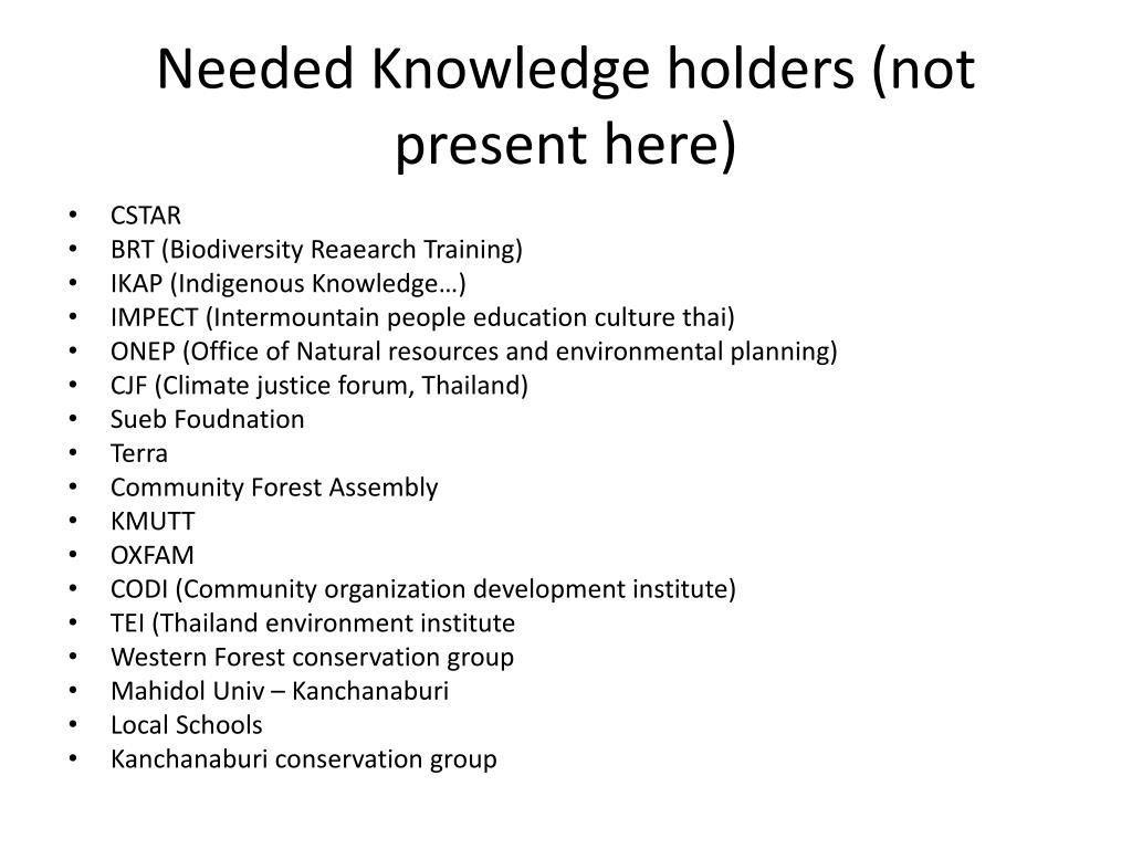 Needed Knowledge holders (not present here)