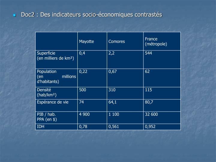 Doc2: Des indicateurs socio-économiques contrastés