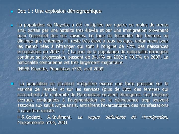 Doc 1: Une explosion démographique