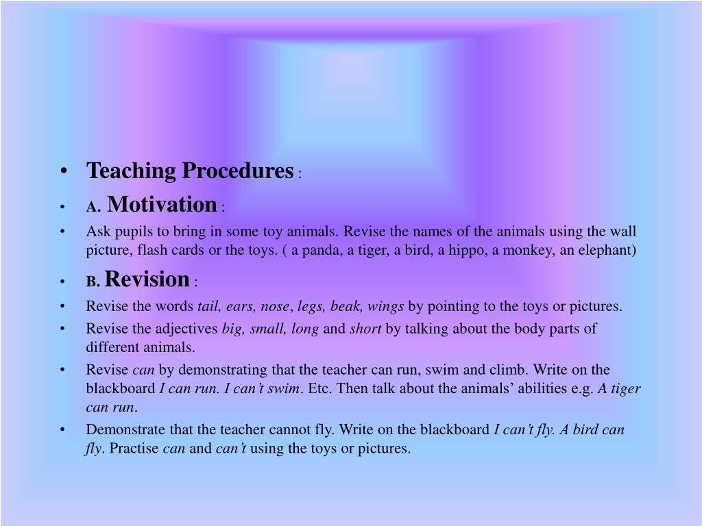 Teaching Procedures
