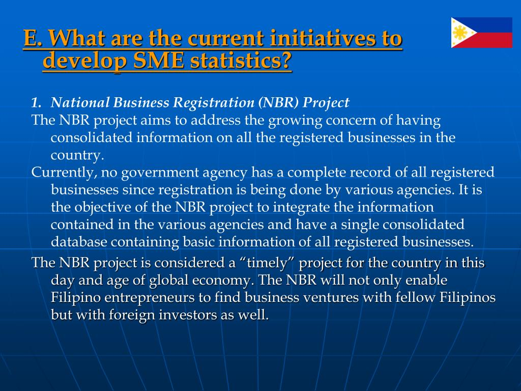 E. What are the current initiatives to develop SME statistics?