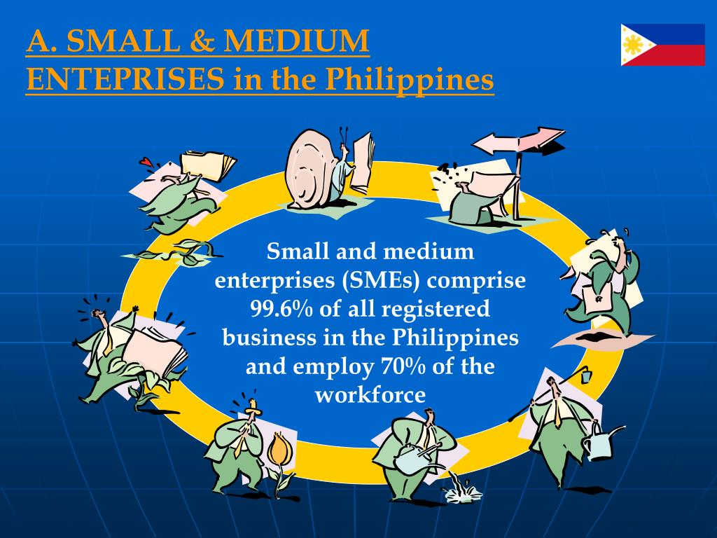 Small and medium enterprises (SMEs) comprise 99.6% of all registered business in the Philippines and employ 70% of the workforce