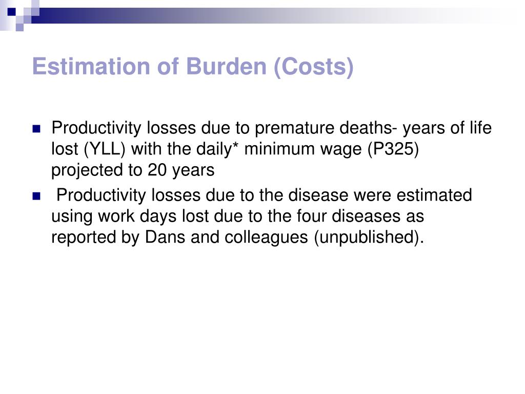 Estimation of Burden (Costs)