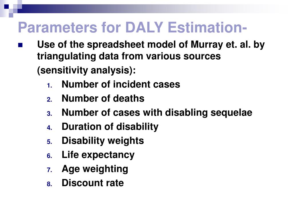 Parameters for DALY Estimation-