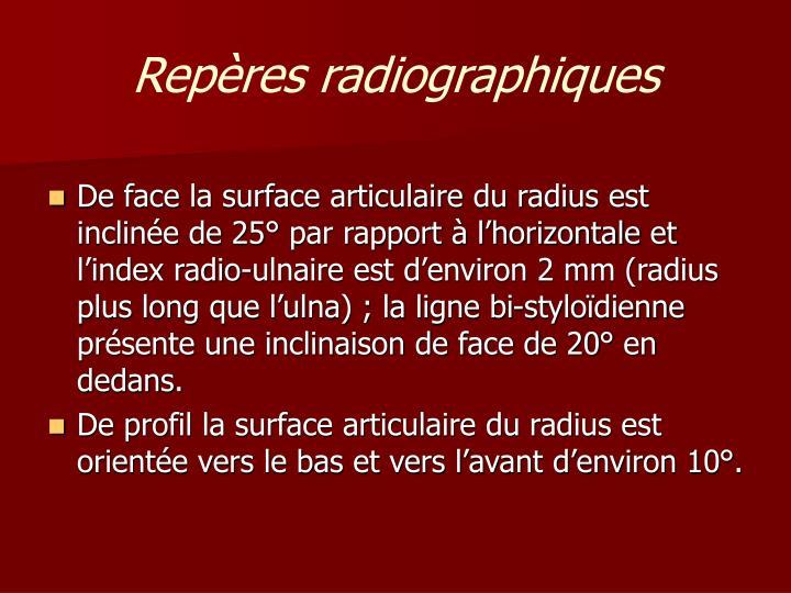 Repères radiographiques