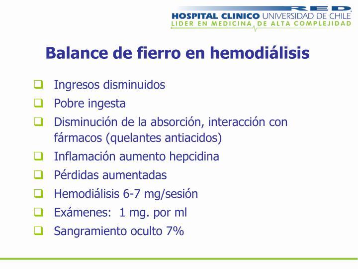 Balance de fierro en hemodiálisis
