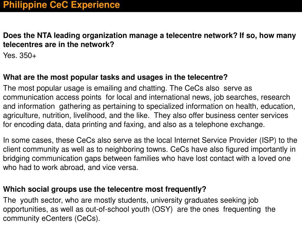 Philippine CeC Experience