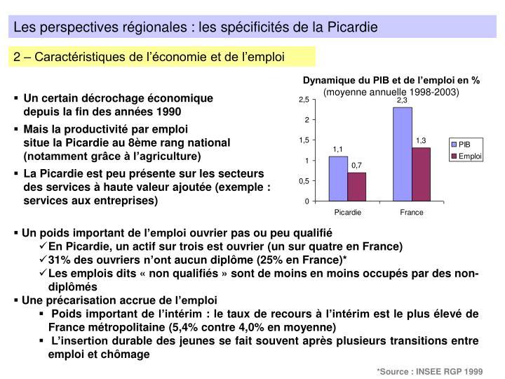 Les perspectives régionales : les spécificités de la Picardie