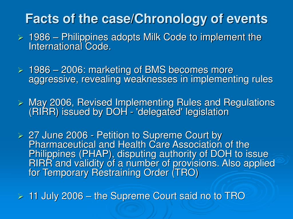 Facts of the case/Chronology of events