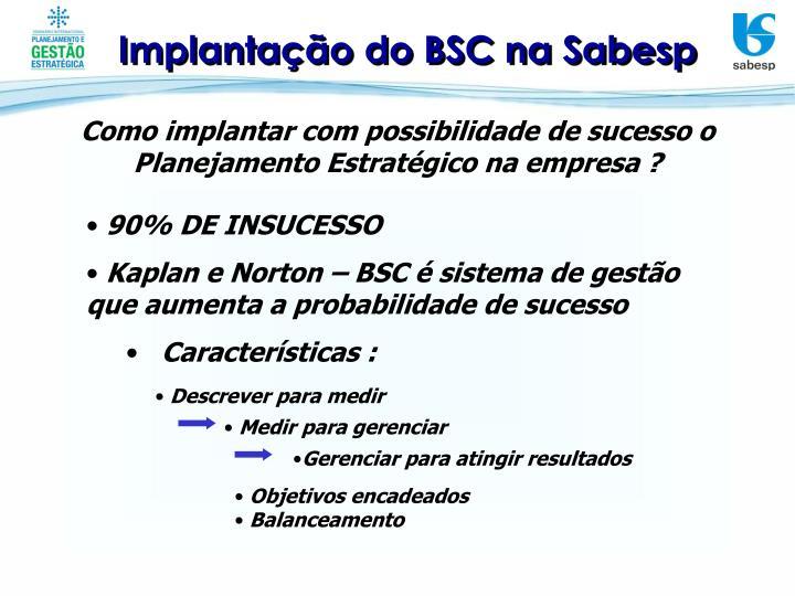 Implantação do BSC na Sabesp