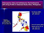 chloroquine cq and sulfadoxine pyrimethamine sp drug profile in selected study sites philippines