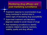 monitoring drug efficacy and post marketing surveillance