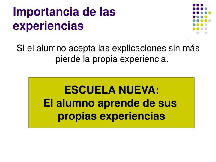 Importancia de las experiencias