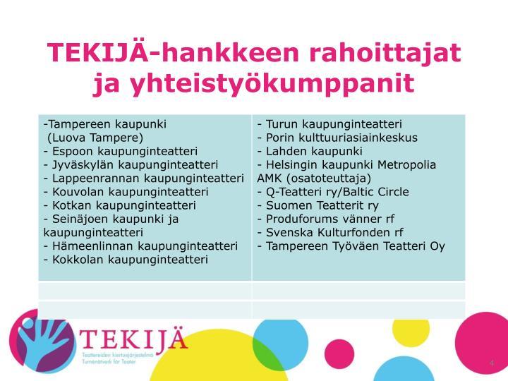 TEKIJÄ-hankkeen rahoittajat ja yhteistyökumppanit