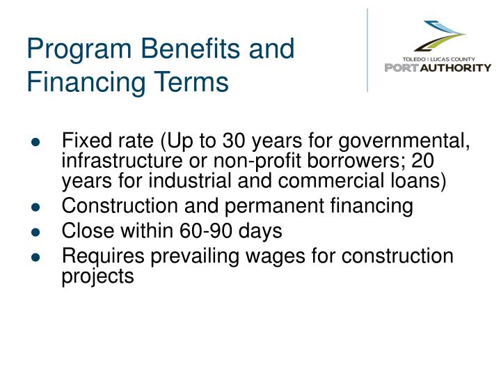 Program Benefits and Financing Terms