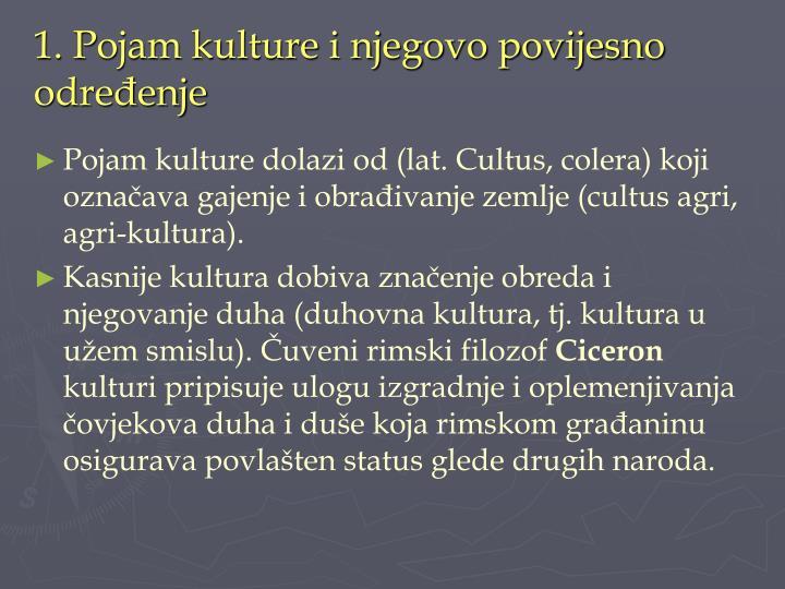 1. Pojam kulture i njegovo povijesno određenje