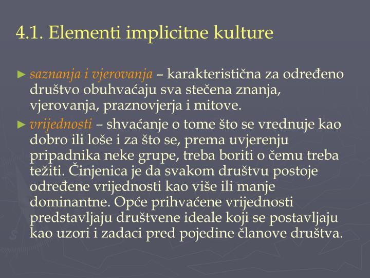 4.1. Elementi implicitne kulture