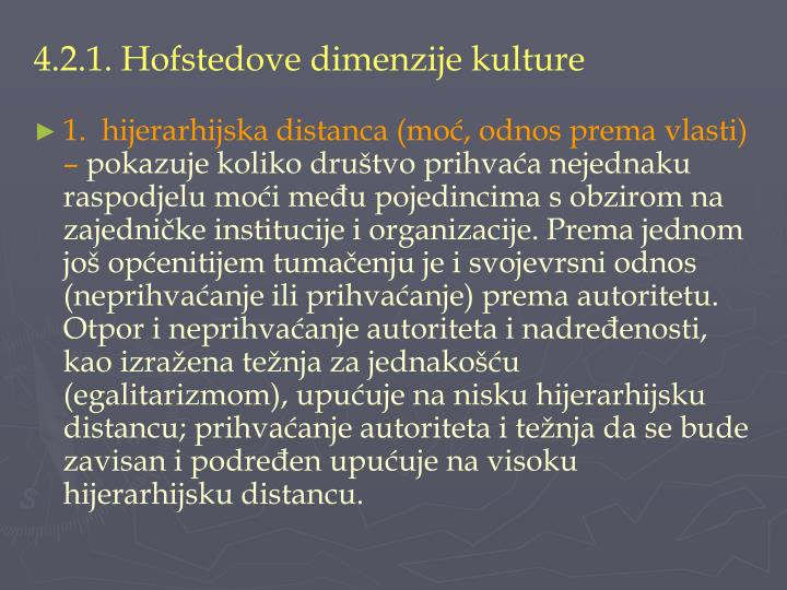 4.2.1. Hofstedove dimenzije kulture