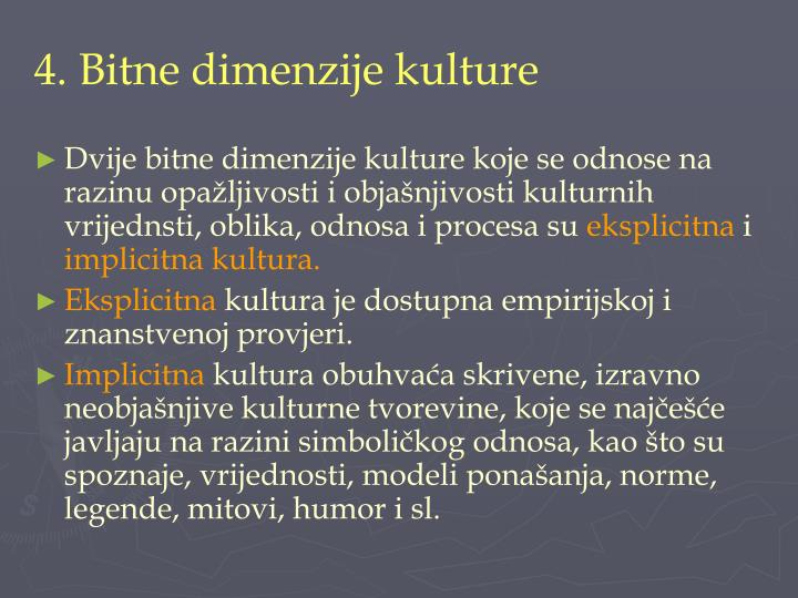 4. Bitne dimenzije kulture
