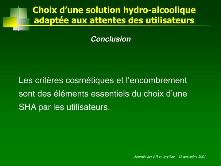 Choix d'une solution hydro-alcoolique adaptée aux attentes des utilisateurs