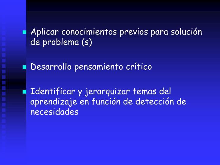 Aplicar conocimientos previos para solucin de problema (s)