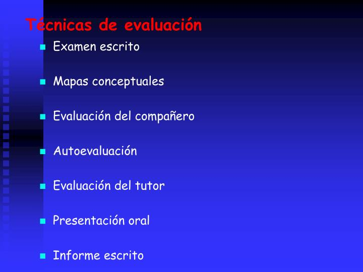 Tcnicas de evaluacin