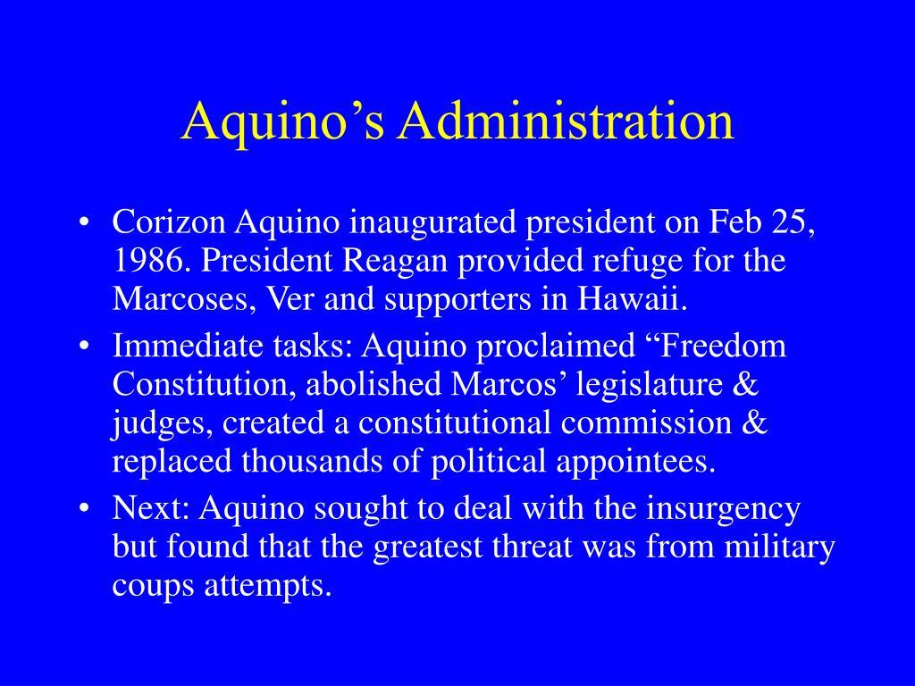 Aquino's Administration