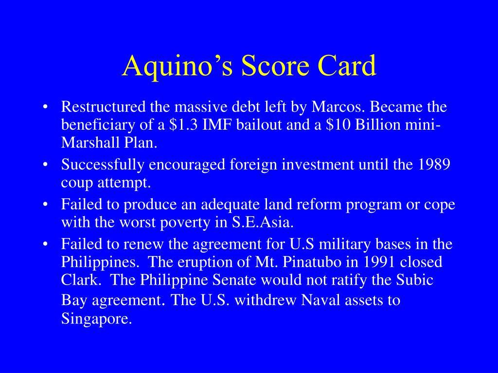 Aquino's Score Card