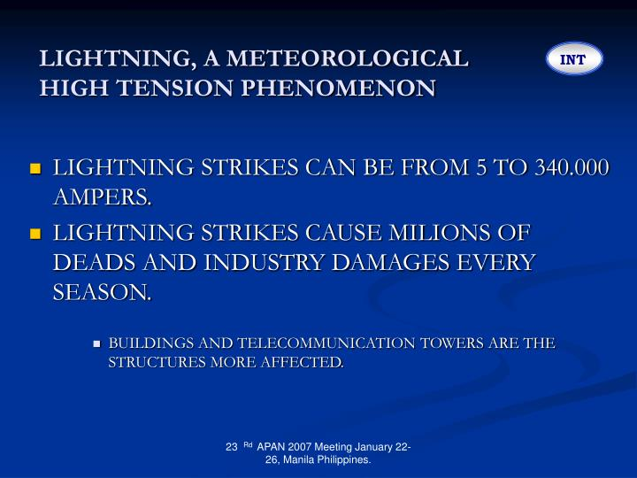 Lightning a meteorological high tension phenomenon