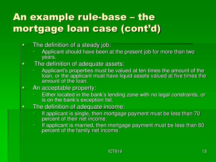 An example rule-base – the mortgage loan case (cont'd)
