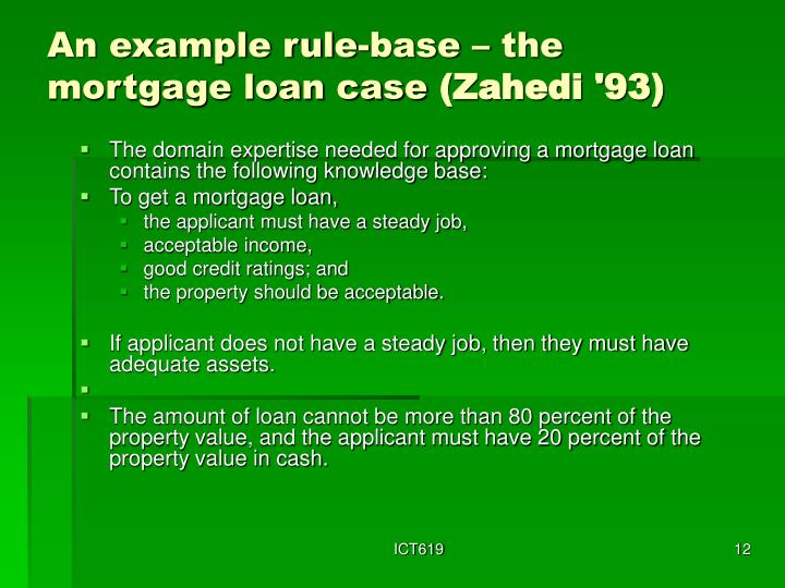 An example rule-base – the mortgage loan case