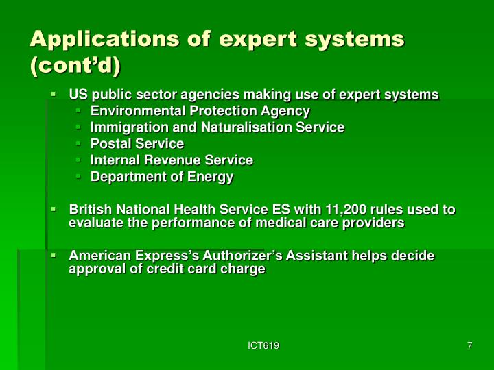 Applications of expert systems (cont'd)