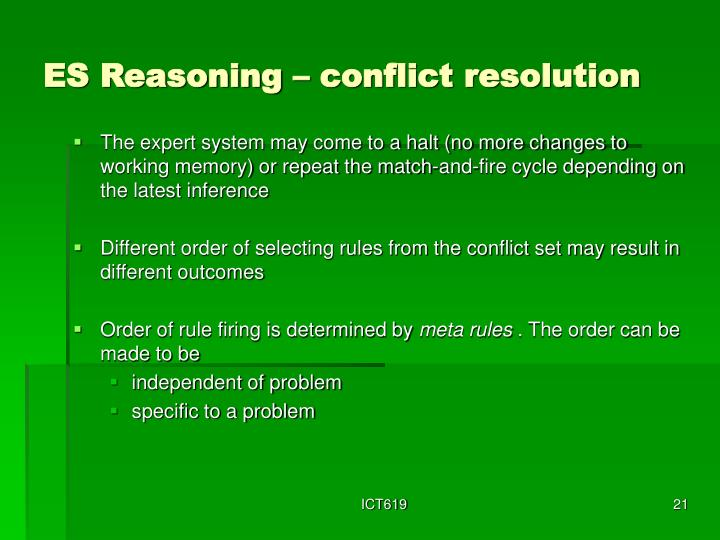 ES Reasoning – conflict resolution