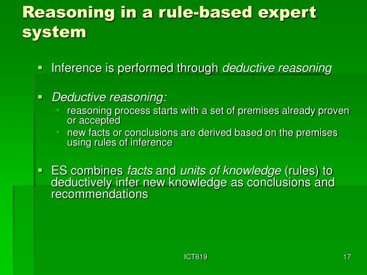 Reasoning in a rule-based expert system