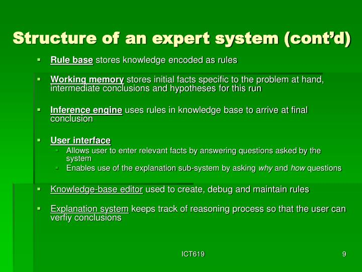 Structure of an expert system (cont'd)