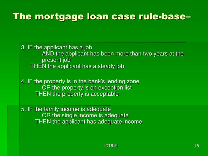 The mortgage loan case rule-base–