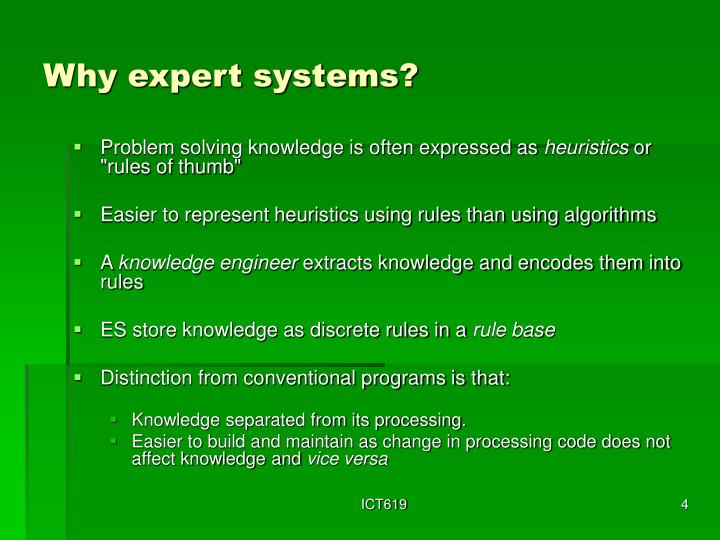 Why expert systems?