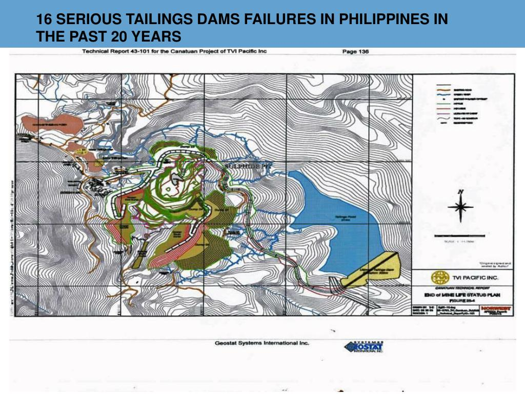 16 SERIOUS TAILINGS DAMS FAILURES IN PHILIPPINES IN THE PAST 20 YEARS