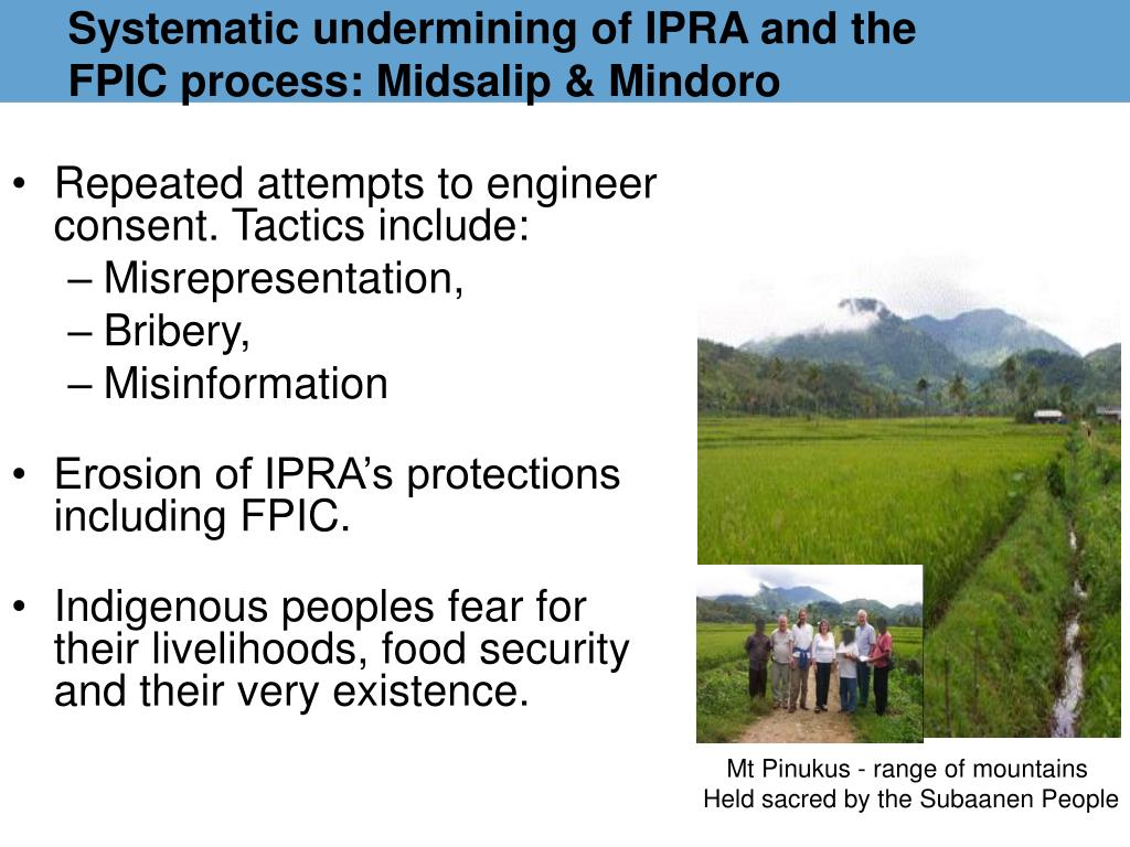 Systematic undermining of IPRA and the FPIC process: Midsalip & Mindoro