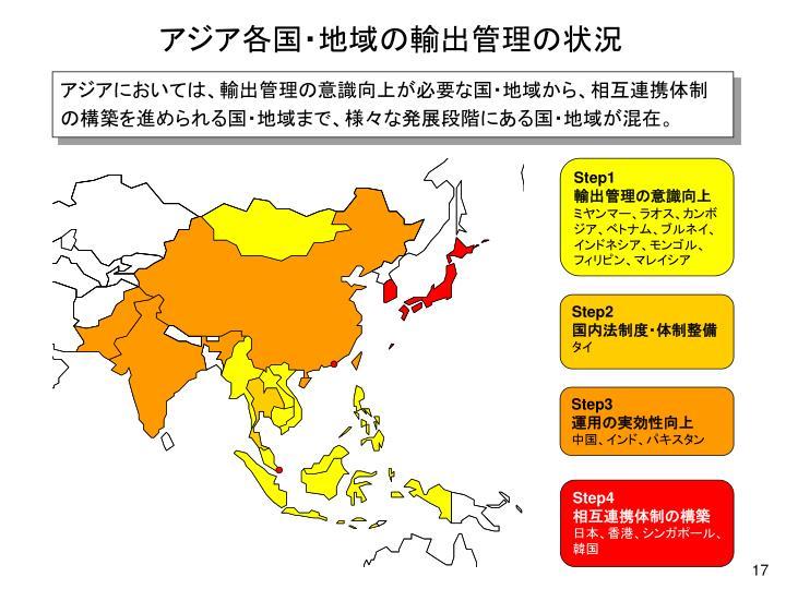 アジア各国・地域の輸出管理の状況