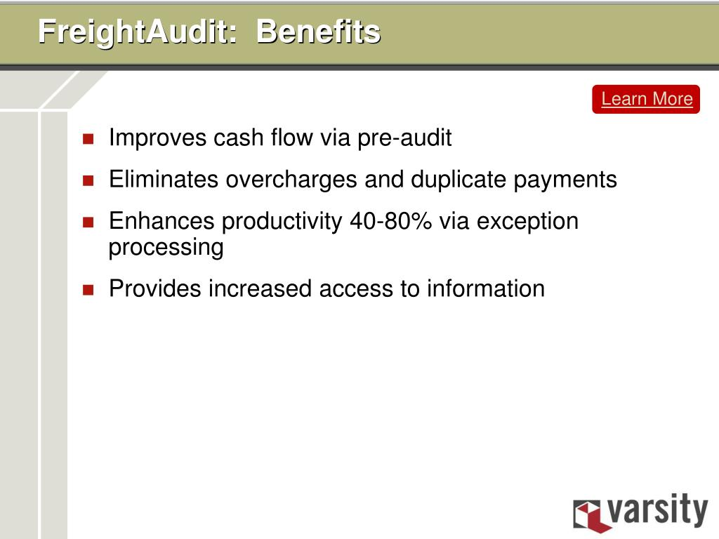 FreightAudit:  Benefits
