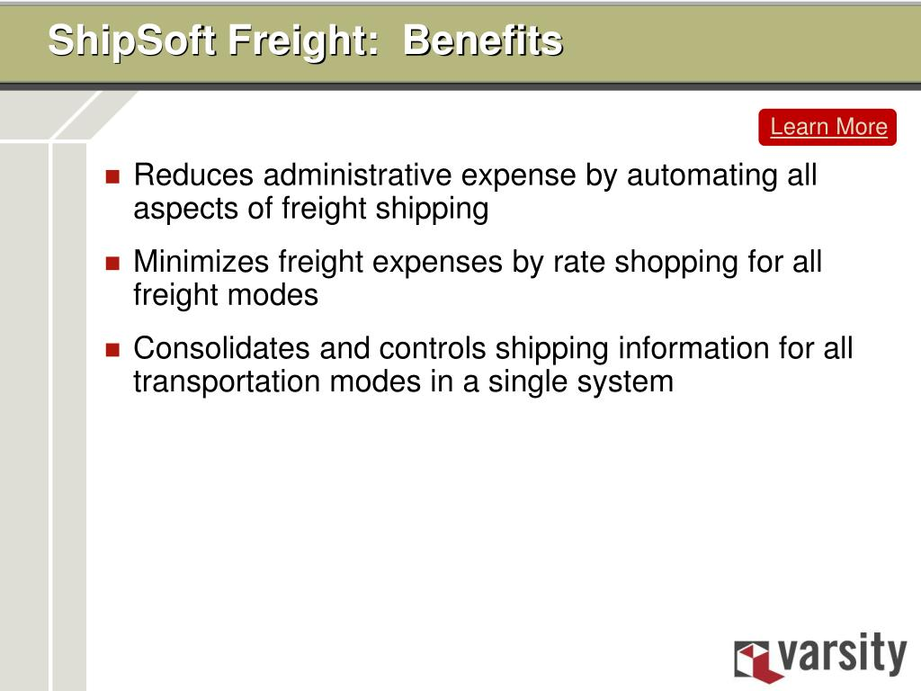 ShipSoft Freight:  Benefits