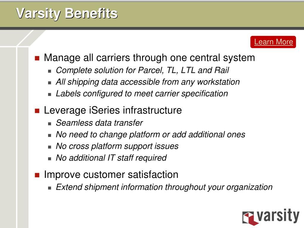 Varsity Benefits
