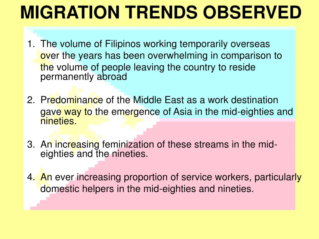 MIGRATION TRENDS OBSERVED