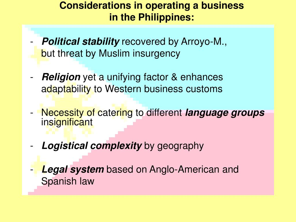 Considerations in operating a business