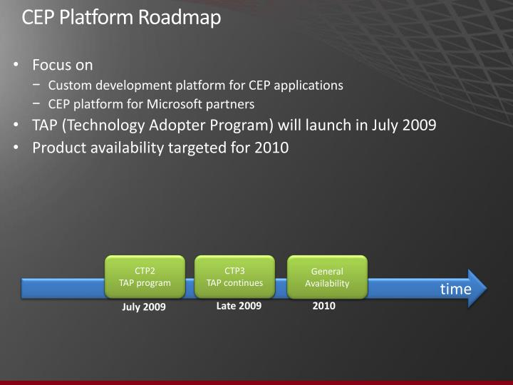 CEP Platform Roadmap