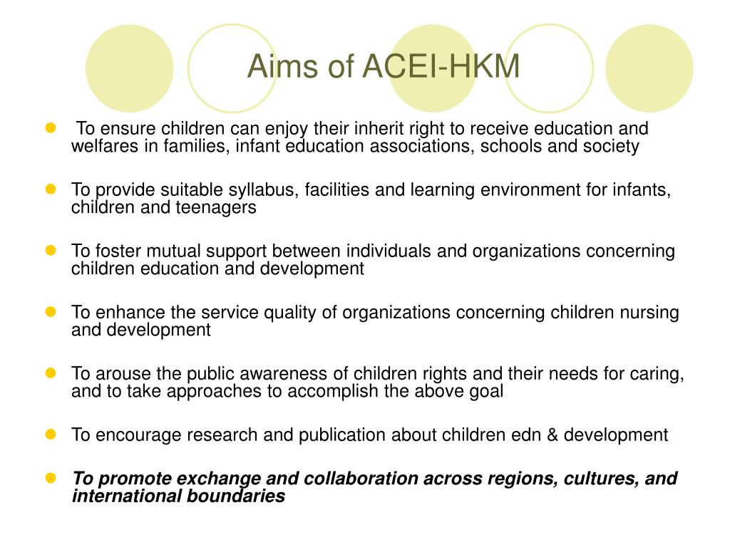 Aims of ACEI-HKM