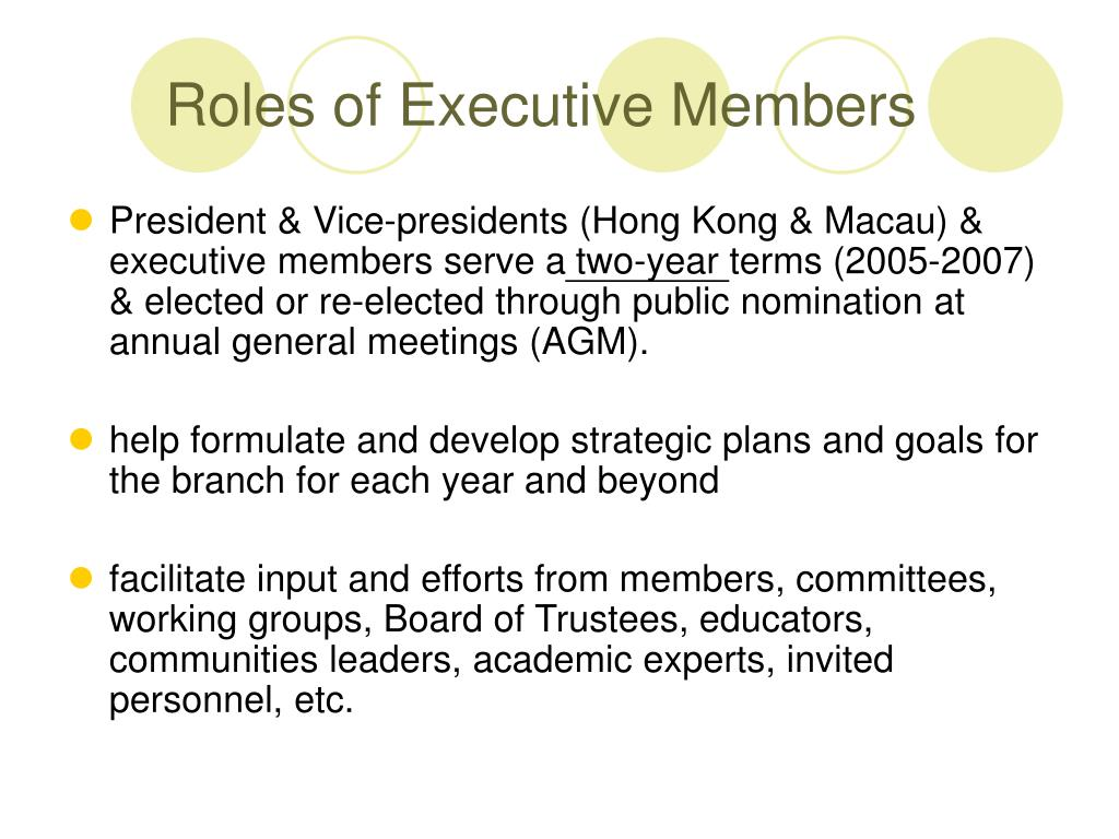 Roles of Executive Members