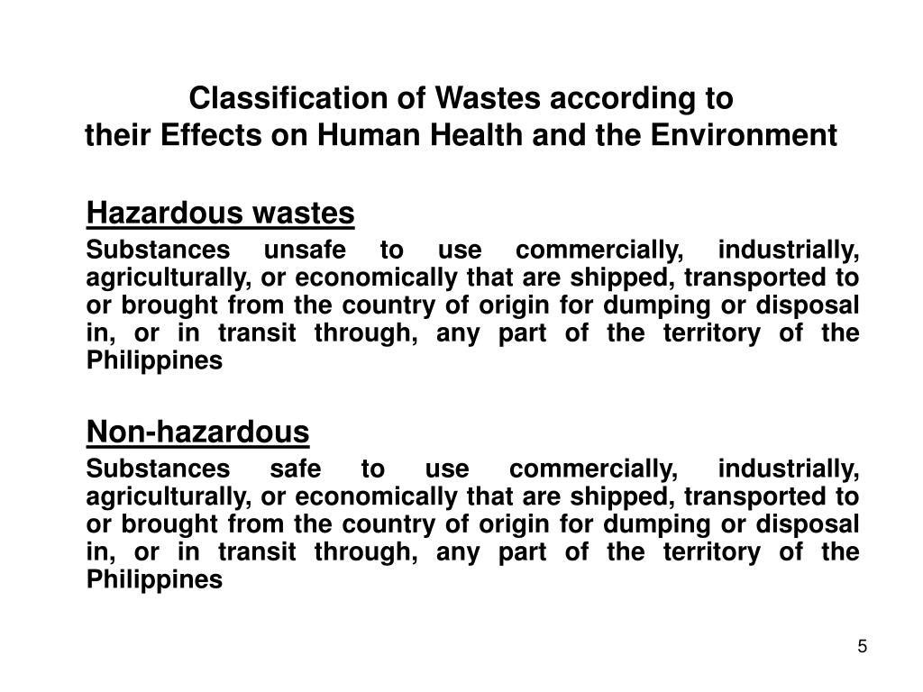 Classification of Wastes according to