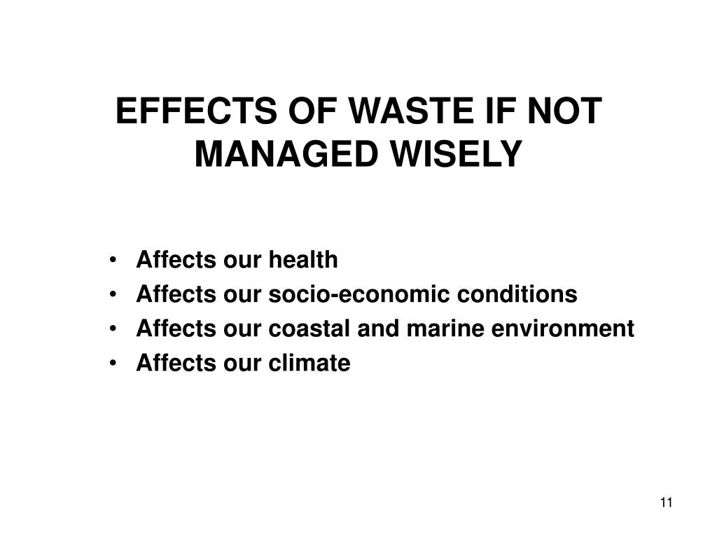 EFFECTS OF WASTE IF NOT MANAGED WISELY